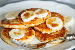 Cottage cheese pancakes with caramel Stock Photo