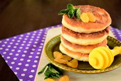 Cottage cheese pancakes. Syrniki decorated with raisins and mint on a little plate Stock Photos