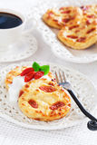 Cottage cheese pancakes with goji berries Stock Image