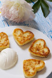 Cottage cheese pancakes with heart shaped Stock Photography