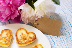 Cottage cheese pancakes with heart shaped Stock Photo