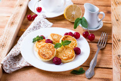 Cottage cheese pancakes, homemade traditional Ukrainian and Russian syrniki Stock Image
