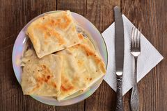 Cottage cheese pancakes on a plate, breakfast Royalty Free Stock Photo
