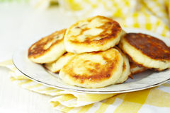 Cottage cheese pancakes with raisin Royalty Free Stock Image