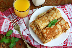 Cottage cheese pancakes. Rolled pancakes with cottage cheese close up Royalty Free Stock Photos