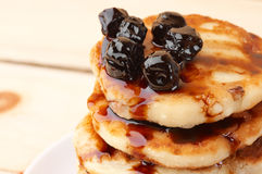 Cottage cheese pancakes Stock Photos