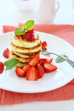 Cottage cheese pancakes with strawberry Royalty Free Stock Images