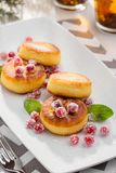 Cottage cheese pancakes with cranberries stock image