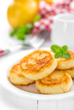 Cottage cheese pancakes, syrniki Royalty Free Stock Image