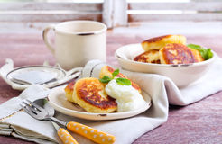 Cottage cheese pancakes Stock Images