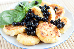 Cottage Cheese Pancakes With Blackcurrant Stock Image