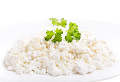 Cottage cheese with parsley Stock Images