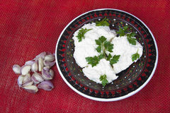 Cottage cheese with parsley and slices of garlic Royalty Free Stock Photos
