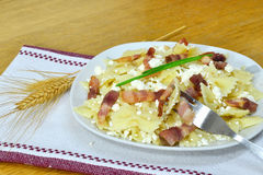 Cottage cheese pasta with bacon Stock Images