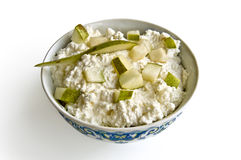 Cottage cheese with pear Stock Image