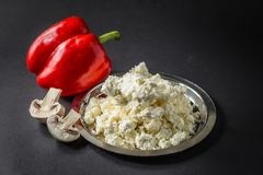 Cottage Cheese with Pepper and Mushrooms stock photos