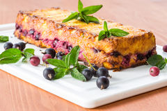 Cottage cheese pie with berries. Decorated with mint Royalty Free Stock Image