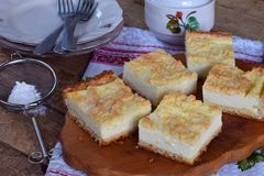 Cottage cheese pie. Homemade baking. Rustic grated cake bars on a wooden board.  royalty free stock photo