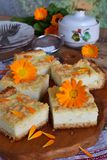 Cottage cheese pie. Homemade baking. Rustic grated cake bars on a wooden board.  royalty free stock image
