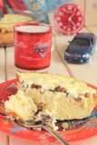 Cottage cheese pie with raisins and sour cream Stock Images