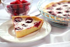 Cottage cheese pie with raspberries Stock Photos