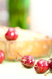 Cottage cheese pie with  sweet cherry. Stock Photos