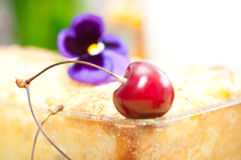 Cottage cheese pie with  sweet cherry. Stock Images