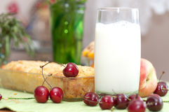 Cottage cheese pie with  sweet cherry. Royalty Free Stock Image