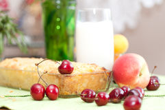 Cottage cheese pie with  sweet cherry. Royalty Free Stock Photography
