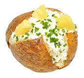 Cottage Cheese And Pineapple Filled Baked Potato Stock Photos