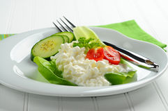 Cottage Cheese Plate Royalty Free Stock Photos