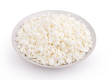 Cottage cheese in plate Stock Photos