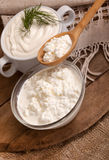 Cottage cheese in a plate Stock Photography