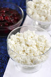 Cottage cheese on a plate. For breakfast stock image
