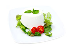 Cottage cheese on plate Stock Images
