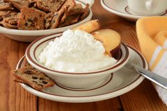 Cottage cheese with plums Royalty Free Stock Photo