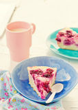 Cottage cheese pudding with cherry, a milk cup for a breakfast on . Royalty Free Stock Photography
