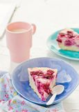 Cottage cheese pudding with cherry, a milk cup for a breakfast on . Stock Images