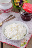 Cottage Cheese (Quark, Cream Cheese, Curd) in a White Bowl Stock Image