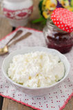 Cottage Cheese (Quark, Cream Cheese, Curd) in a White Bowl Royalty Free Stock Images