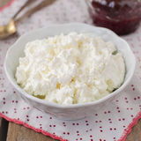 Cottage Cheese (Quark, Cream Cheese, Curd) in a White Bowl Royalty Free Stock Photography