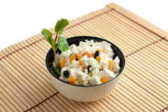 Cottage cheese and raisins Royalty Free Stock Photography