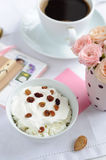 Cottage cheese with raisins on the table Stock Images
