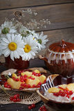 Cottage cheese, red currant and fresh peaches Stock Images