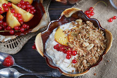 Cottage cheese, red currant and fresh peaches Royalty Free Stock Photos