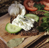 Cottage cheese sandwich Royalty Free Stock Images