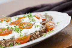 Cottage cheese sandwiches Stock Image