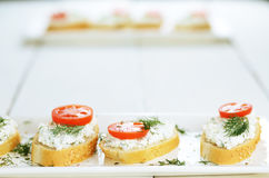 Cottage cheese sandwiches set. With tomato and dill on white table Stock Images