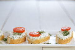 Cottage cheese sandwiches set Royalty Free Stock Photos