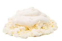 Cottage cheese with sour cream Stock Photo